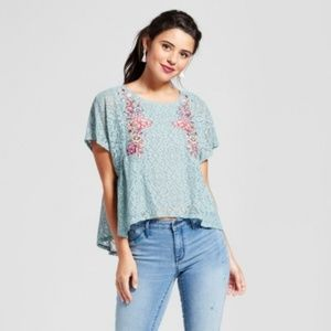 Xhilaration | Embroidered Floral Lace Top A58